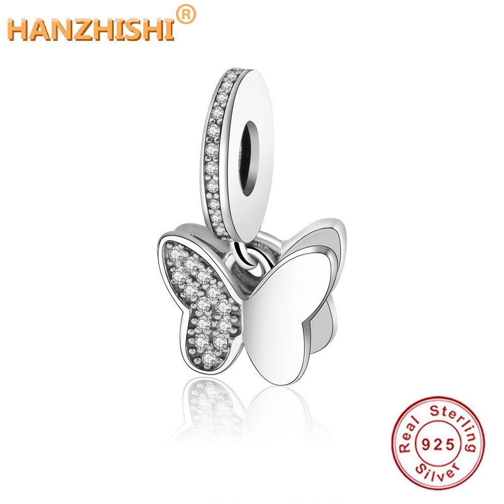 100% 925 perles en argent Sterling flottant papillons pendentif breloque ajustement Original Pandora bracelet à breloques collier bijoux à bricoler soi-même
