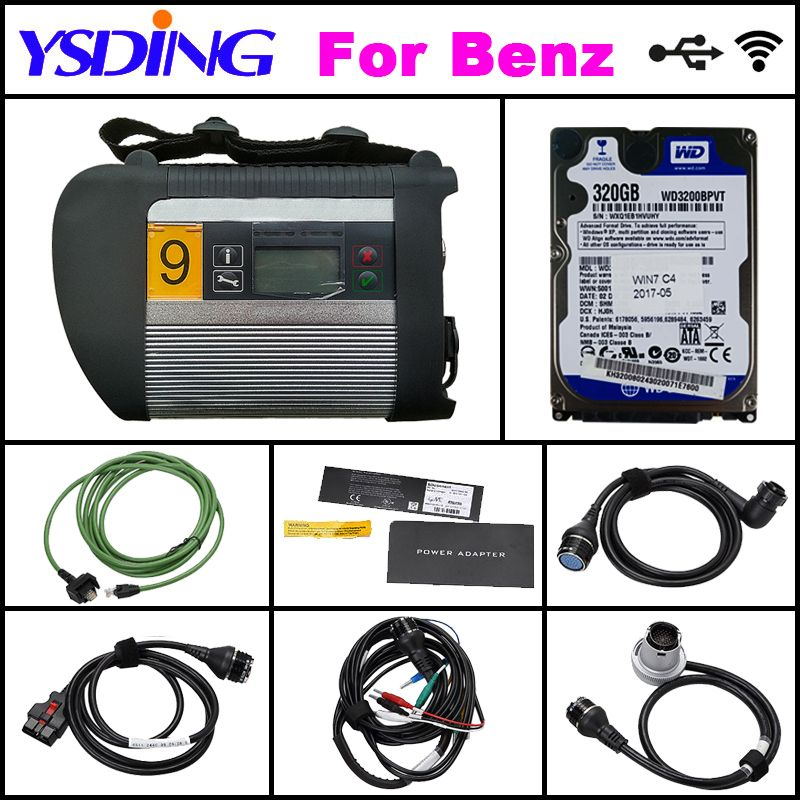 High Quality full chip Mb Star C4 Connect with HDD 09/2018V Xentry/DTS/Vediamo MB SD Connect Compact 4 Diagnostic Tool + WiFi