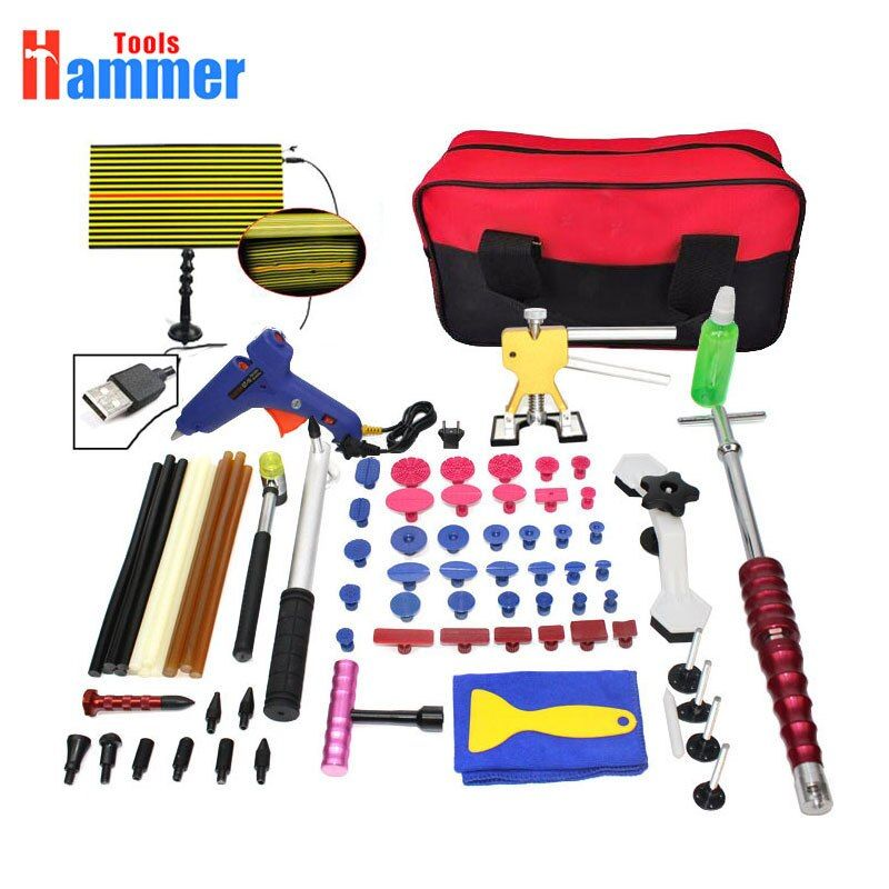 Paintless Hail Repair Dent Puller Lifter PDR Tools led light T Bar Damage Removal Glue Kit