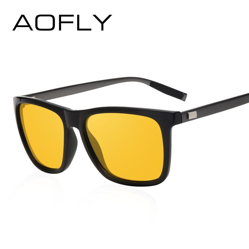 AOFLY Lentes de visión nocturna Polarizadas Amarillo Gafas de sol de Conducción Hombres Mujeres Marca Gafas de diseño Gafas Oculos de protección AF8052