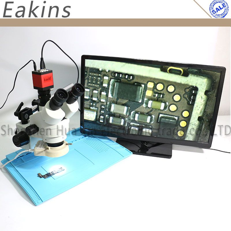 Eakins 7-45X Simul-focal Trinocular Stereo Zoom Microscope 13MP HDMI VGA Microscope Camera 56 LED Light Insulation Pad Mat