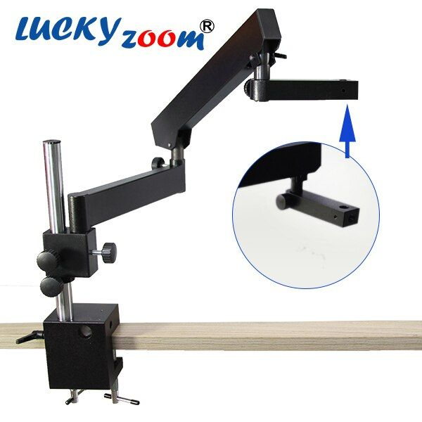 Luckyzoom Trinocular Stereo Zoom Microscope Articulating Arm Clamp Stand Portable Microscopio Stage Accessories Free Shipping