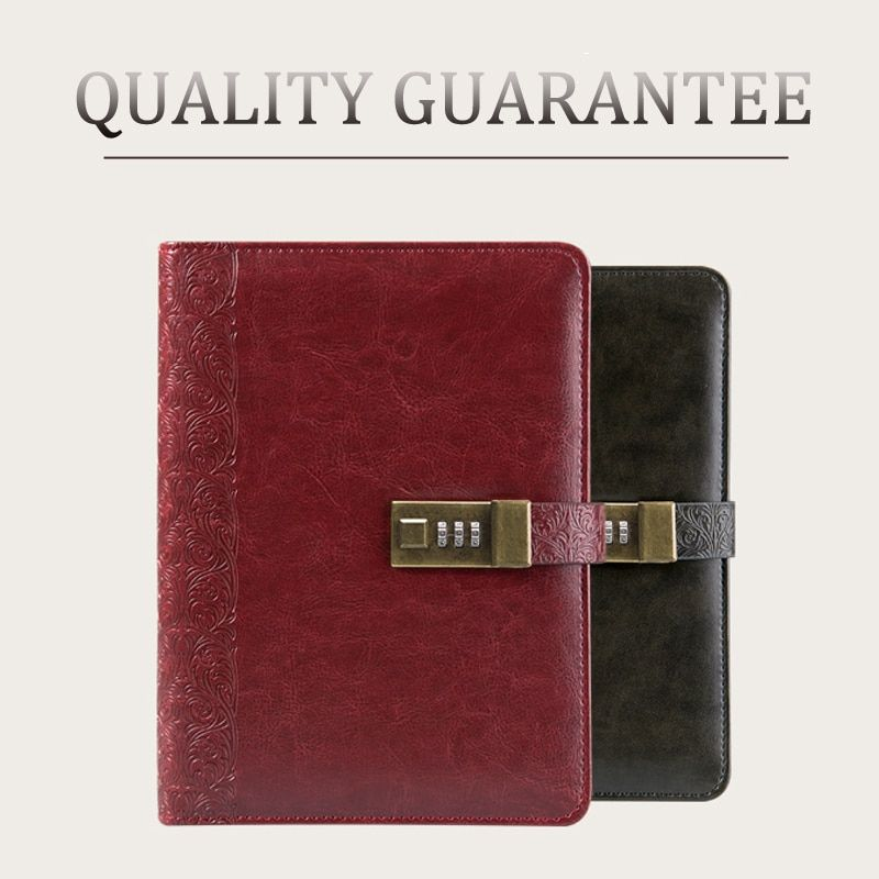 CAGIE Notebook Diary with Lock Vintage Leather Diary Spiral a5 Notebook and Journals Lined Pages Personal Filofax Organizer