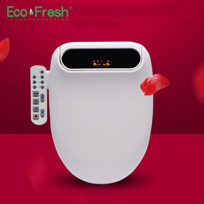 Ecofresh Smart toilet seat Washlet Elongate Electric Bidet cover heat led light wash dry massage man woman child oldman