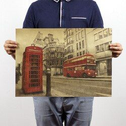 London Red Bus and Telephone Booth Vintage Kraft Paper Poster Home Decoration  Art Magazines Classic  Cafe Bar Decoration