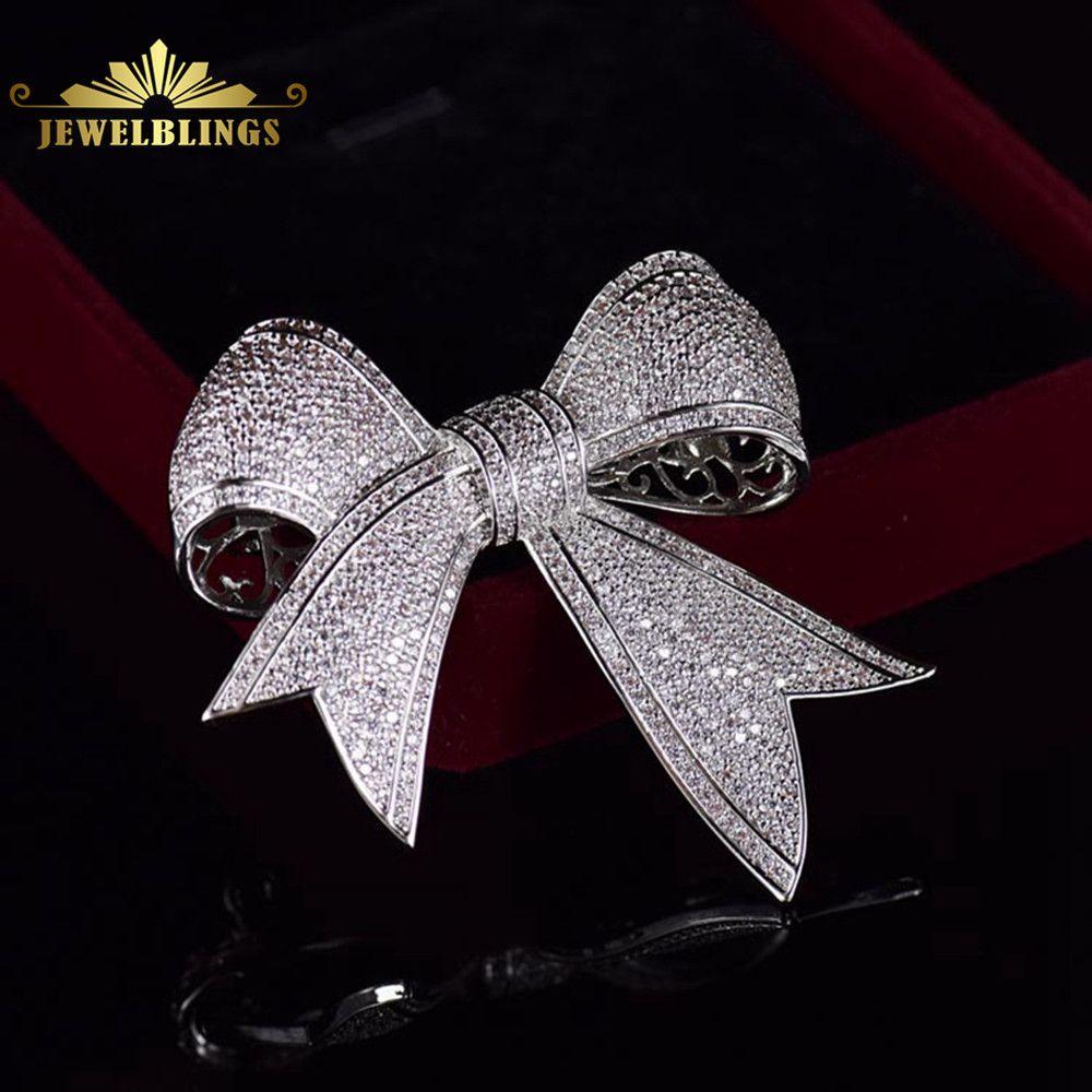 Bling Micro pavé CZ victorien ruban noeud broches ton argent pleine teinte claire CZ pavé Antique nœud papillon broches Edwardian bijoux