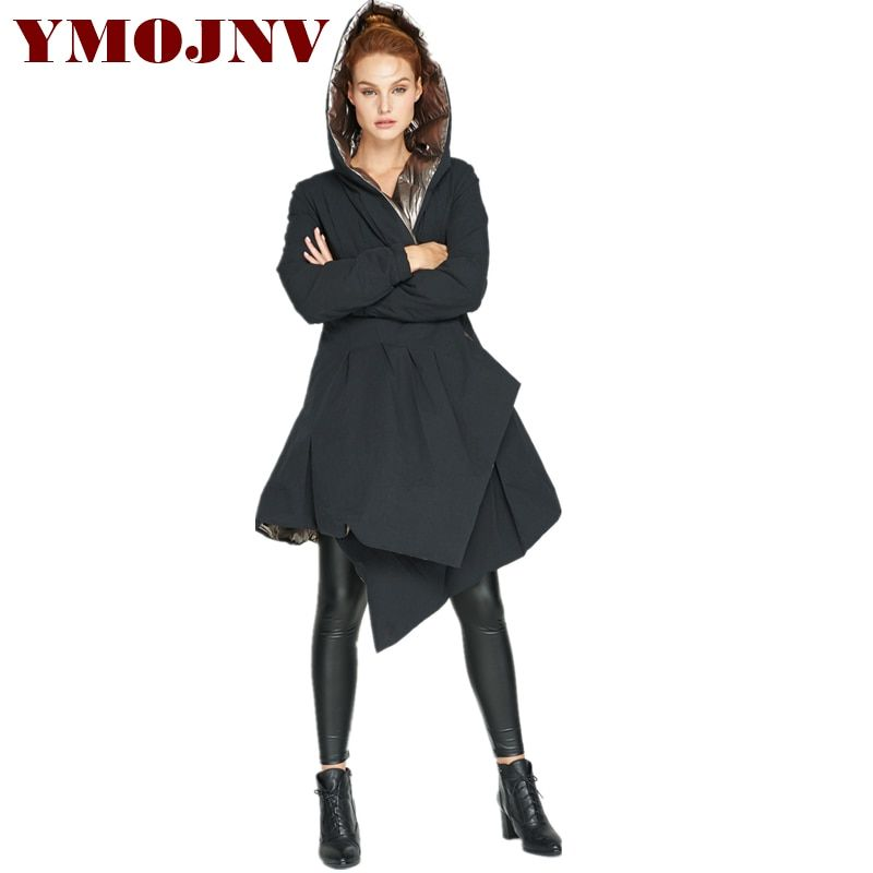 YMOJNV 2018 Winter Parka New Design Fashioned Women's Bright Coat Thickening Double-sided Wearing Hooded Down Jacket Female