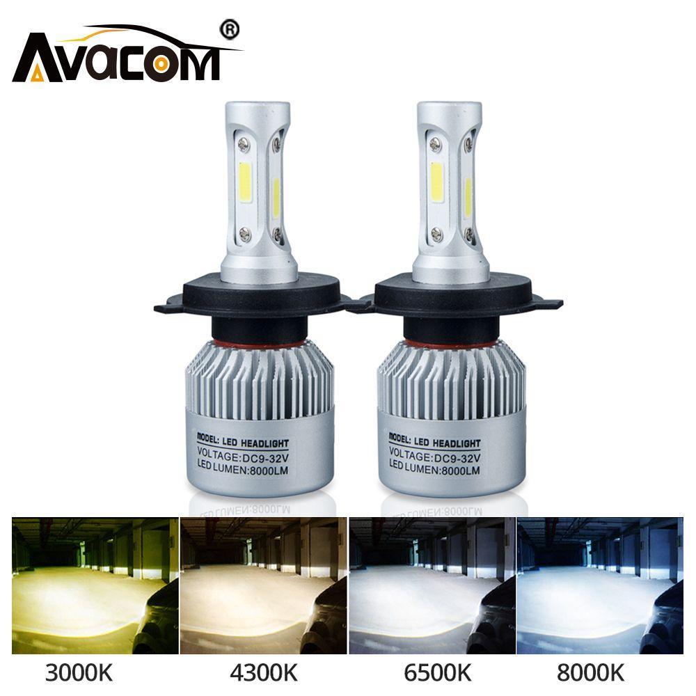 Avacom 2Pcs H7 LED Turbo H4 Car Headlight Bulb COB H11/H8/H9 H1 H3 9005/HB3 9006/HB4 Hir2 H27 8000LM 6500K 12V 24V Auto Voiture
