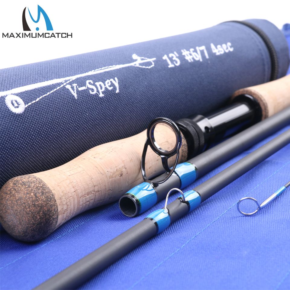 Maximumcatch 12ft6/12ft9/13ft/14ft Spey Fly Rod 6/7/8/9/10 WT 4/6pcs Fly Fishing Rod Fast Action With Cordura Tube Carbon