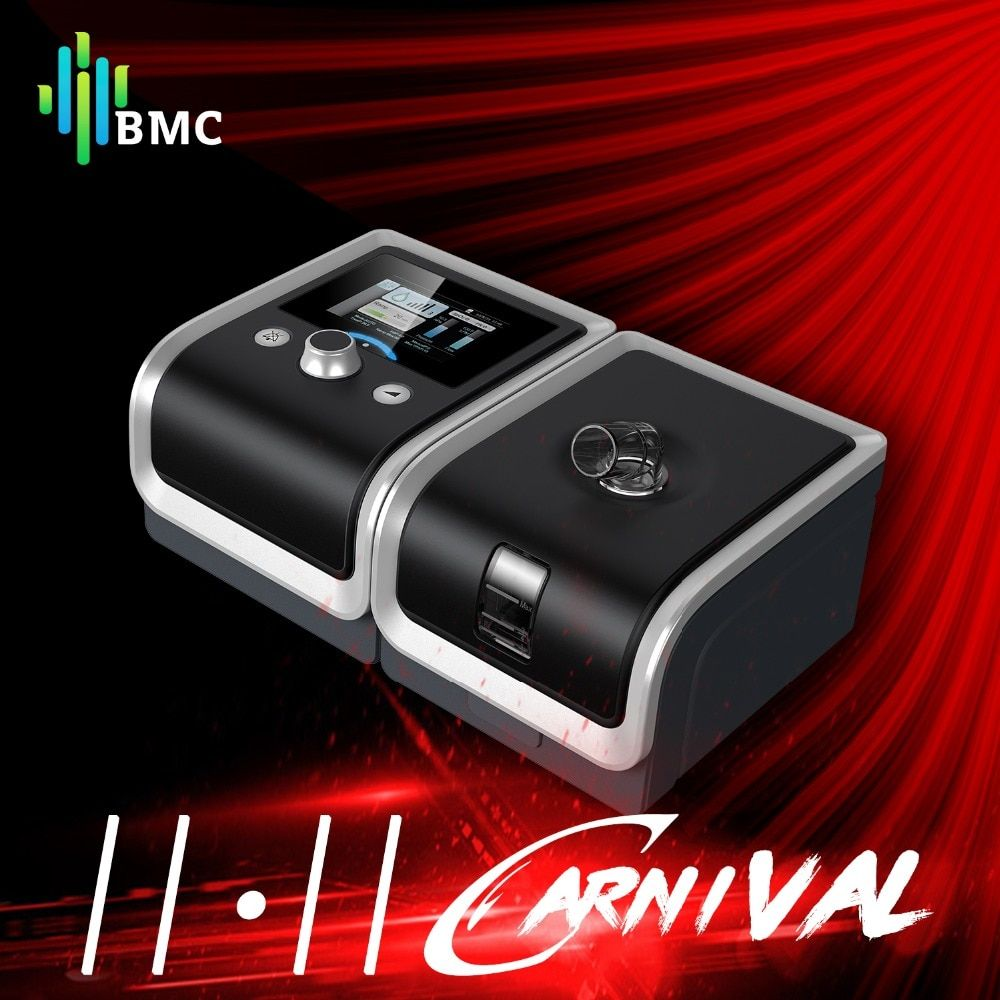 BMC GII BPAP T-25A/25T/30T Therapy Apnea COPD With Fingertip Pulse Oximeter Full Face Mask Plastic Hose Humidifier