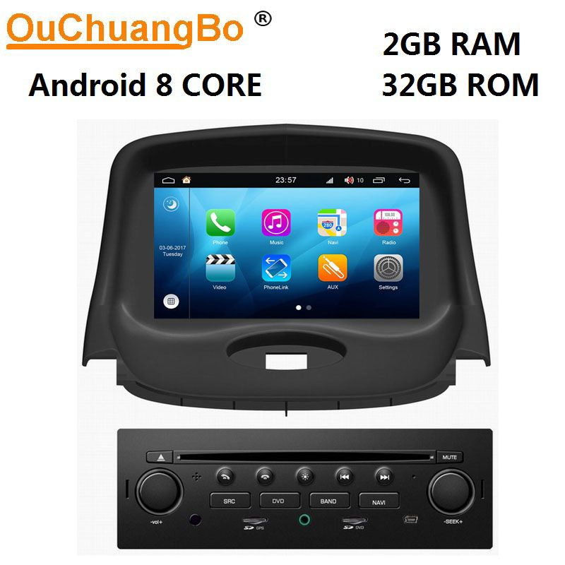 Ouchuangbo 8 Core auto multimedia-player gps recorder für Peugeot 206 mit android 8.0 radio 1080P video CarPlay 2GB + 32GB S200