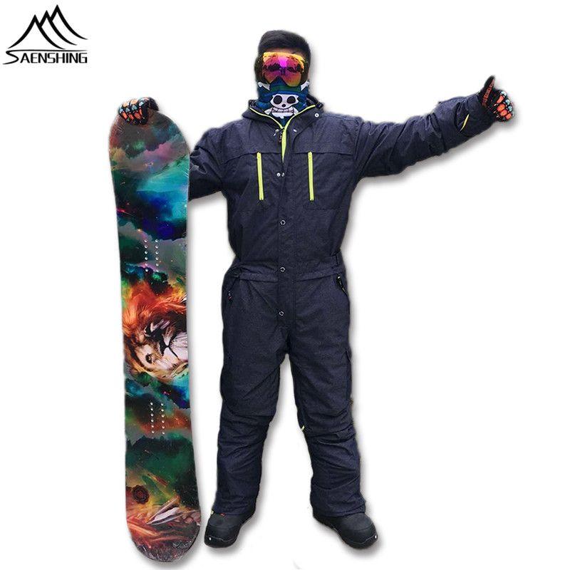Saenshing Einem Stück Skianzug Männer Snowboard Overall herren Ski Set Wasserdicht Winddicht Verdicken Warme Ski-jacke + hosen