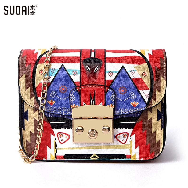 Women Shoulder Bag 2017 Fashion New Lock Messenger Bags Famous Brand Summer Style Small Flag Colorful Female Chain Bag