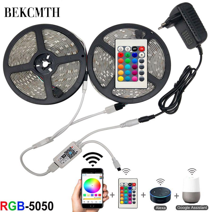BEKCMTH 5m 10m 15m wifi LED bande lumineuse RGB étanche SMD 5050 RGBW/RGBWW LED bande bande DC 12V + télécommande + adaptateur EU