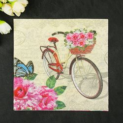 New Fresh Bicycle Flowers Butterfly Paper Napkins Cafe&Party Tissue Napkins Decoupage Decoration Paper 33cm*33cm 20pcs/pack/lot