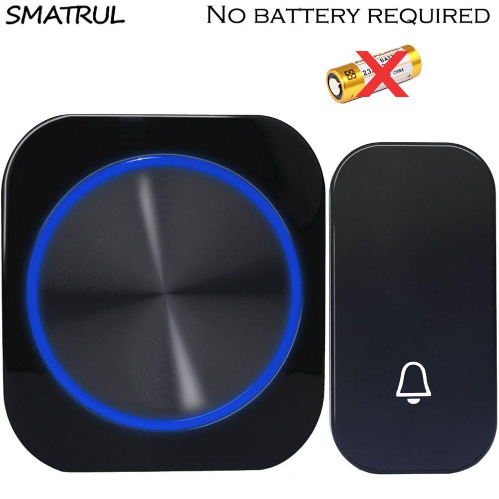 SMATRUL auto alimenté Étanche Sans Fil Sonnette nuit lumière sans batterie UE plug accueil Sans Fil Sonnette De La Porte 1 2 bouton 1 2 Récepteur