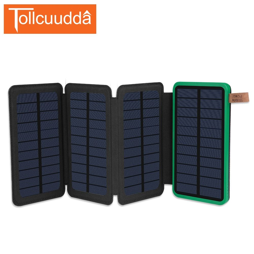 Tollcuudda Folds Portable Charger Solar Charger Solar Power Bank Dual USB External Battery LED Poverbank For All Mobile Phones