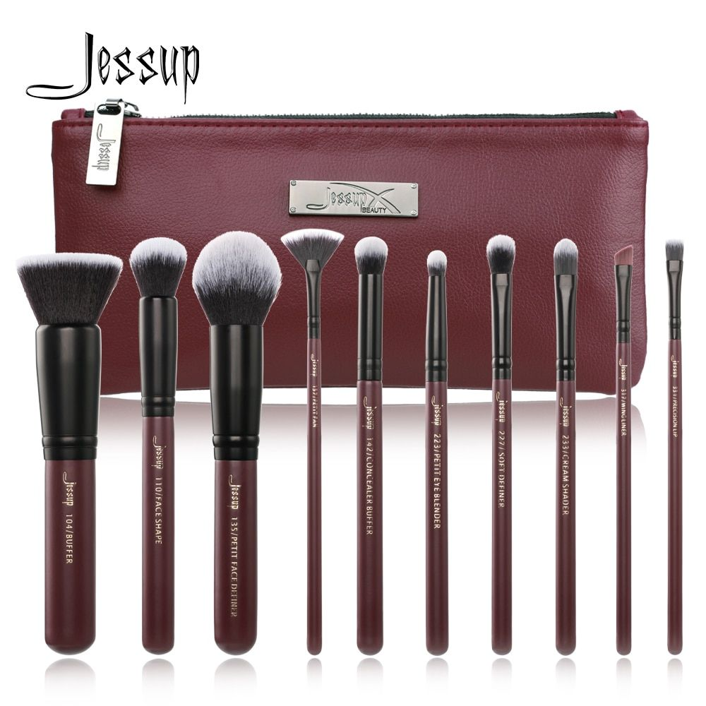 2018 New Jessup Makeup Brushes Set Summer pincel maquiagem profissional completa eyelashes eyeshadow T259 Cosmetic Bag CB004
