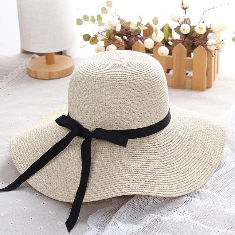Chapeau de paille d'été femmes grand large bord chapeau de plage chapeau de soleil pliable bloc de soleil protection UV panama chapeau os chapeu feminino