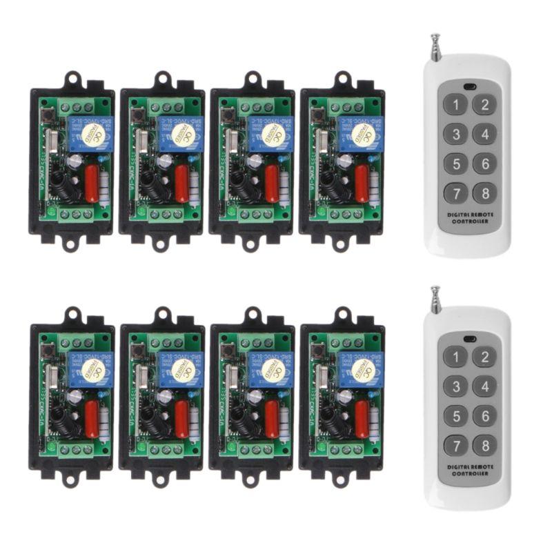 220 v 8CH RF Wireless Fernbedienung Lernen Code 8 Empfänger Mit 2 Sender