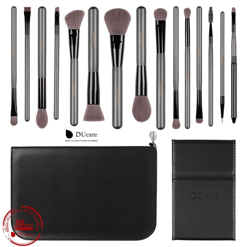 DUcare Makeup Brushes Sets 15PCS high quality Professional brush set with <font><b>Portable</b></font> Mirror cosmetic make up brushes with bag