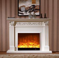 Estilo europeo conjunto chimenea repisa de madera W150cm con chimenea eléctrica insertar quemador artificial LED decoración de llama óptica