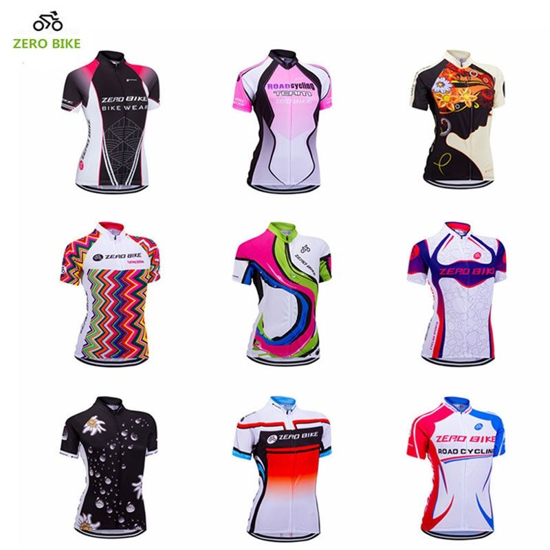 ZEROBIKE Women's Short Sleeve Cycling <font><b>Jersey</b></font> Quick Dry Breathable MTB Bike Clothing Full Zip Tops T-shirt ropa ciclismo US Size