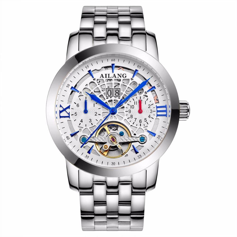 AILANG brand watches luxury high quality automatic mechanical watch sapphire fashion hollow tourbillon men watch waterproof