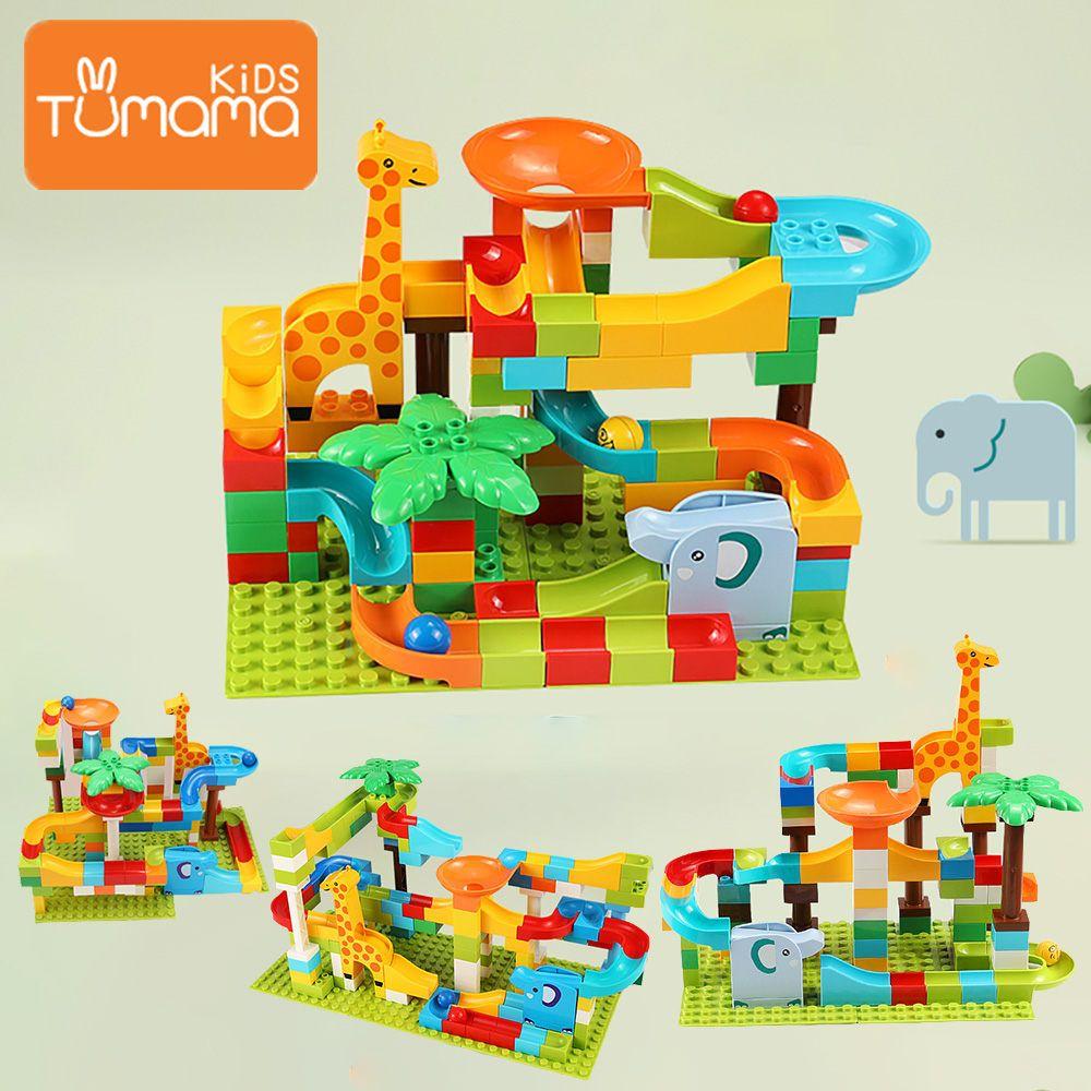 52-143PCS Marble Race Run Maze Balls Track Building Blocks Jungle Adventure Track Brick Compatible LegoING Duploed Toys For Kid