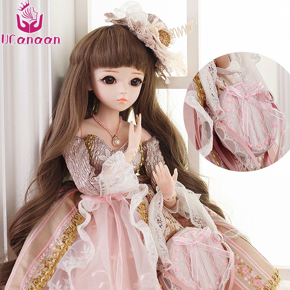 Ucanaan 60 cm sd/bjd Muñecas princesa dulce muñeca 18 articulaciones vestido Zapatos Pelucas cosmética Niñas Juguetes mejor chirstmas regalo colección
