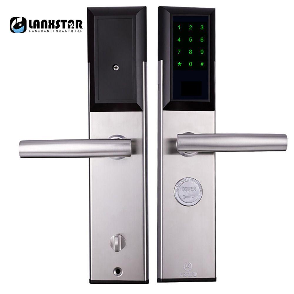 Lanxstar Bluetooth rfid-карты пароль интеллектуальный замок Anti-theft двери электронный Smart Lock механический ключ 304 Нержавеющаясталь