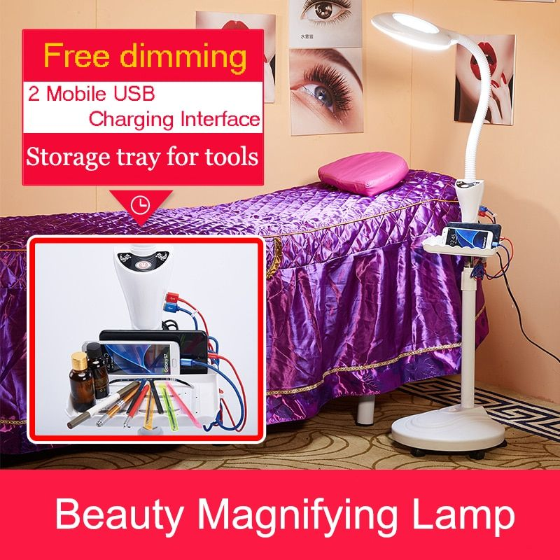 Hotsale LED Magnifying Light Floor Lamp Magnifier with Stand Flexible Adjustable Gooseneck Beauty Light+USB Charger+Tray