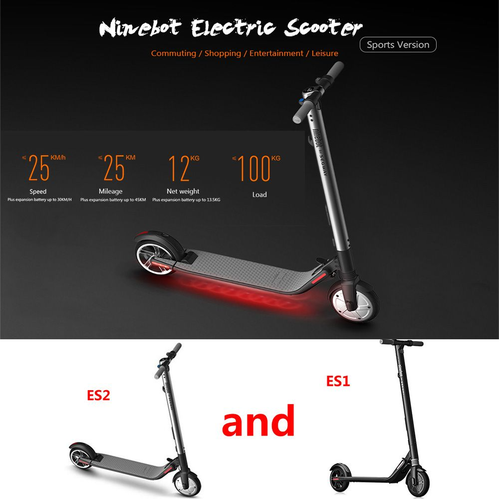 Ninebot ES2/ES1 Kick Scooter Smart Electric Scooter Folding LongBoard Hoverboard Skateboard Electric Scooter 5.2Ah Battery APP