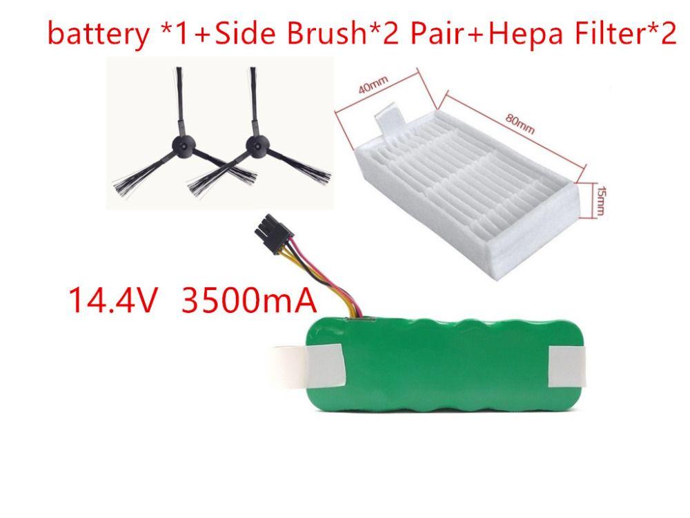 NI-MH 14.4V 3500mAh panda X500 Battery*1+Side Brush*2 Pair+Hepa Filter*2 for Vacuum cleaner Dibea X500 X580