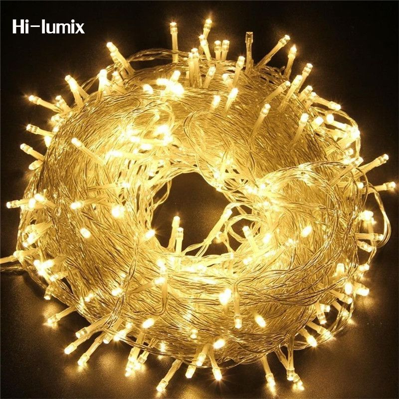 Hi-lumix 110V 220V Christmas led string light 20M 30M 50M fairy lighting waterproof outdoor decoration 8 modes Party Wedding Bar
