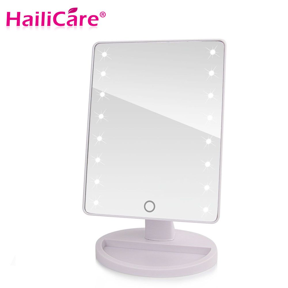 LED Touch Screen Makeup Mirror Professional Vanity Mirror With 16/22 LED Lights Health Beauty Adjustable Countertop 180 Rotating