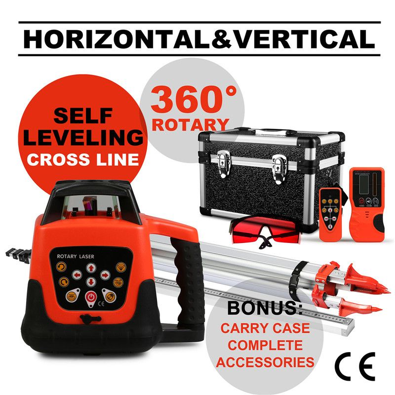 Quality Guaranteed Automatic Self-leveling Rotary Red Laser Level 500m Range + Tripod + 5m Staff