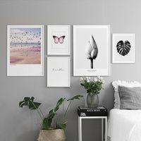 Lotus hoja negra mariposa roja cartel nórdico pared imágenes para sala de estar Cuadro decoración pared arte lienzo pintura sin marco