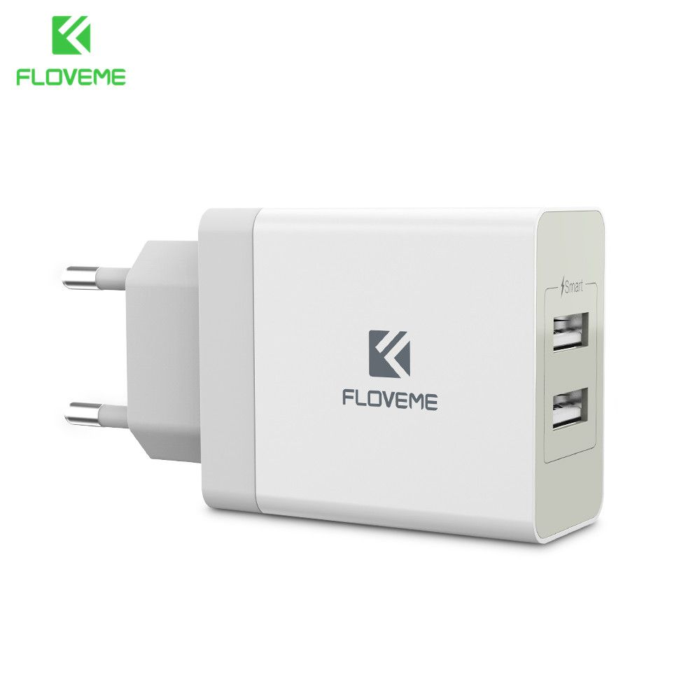 FLOVEME 5V 3.4A Dual Ports Phone Charger For iPhone Samsung Huawei Xiaomi USB Charger Intelligent IC Chip Smart Safe Charging