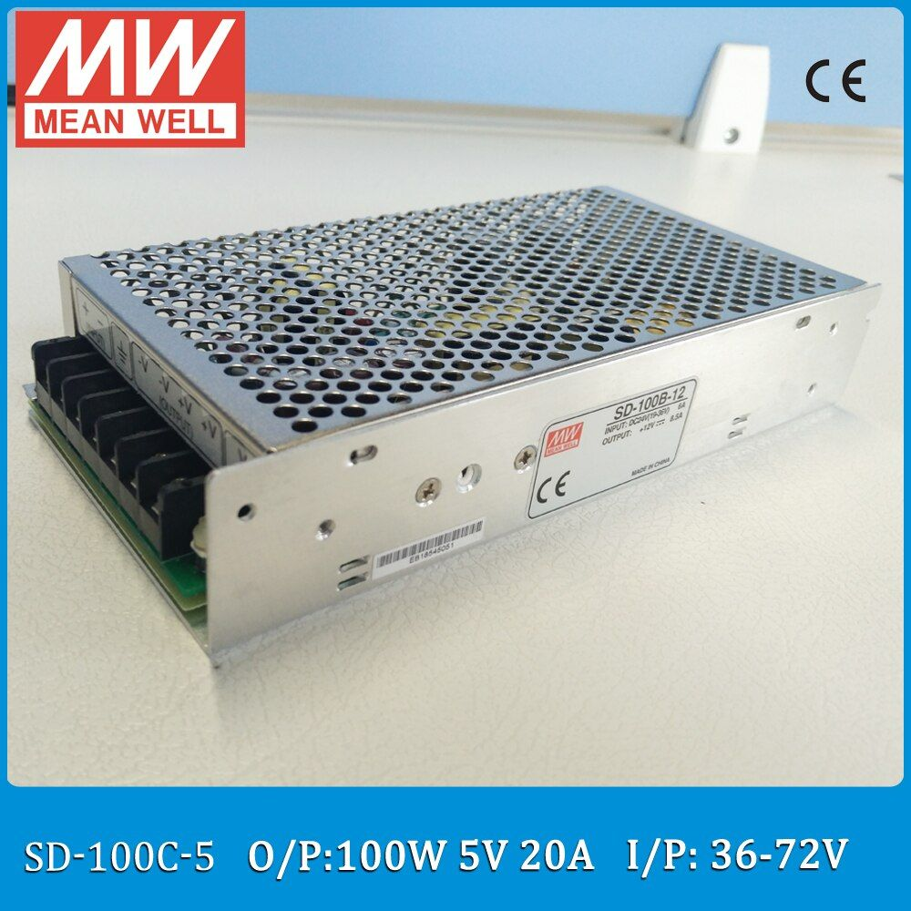 Original MEAN WELL Input 36~72VDC to output 5VDC converter SD-100C-5 Single Output 100W 20A 5V meanwell converter