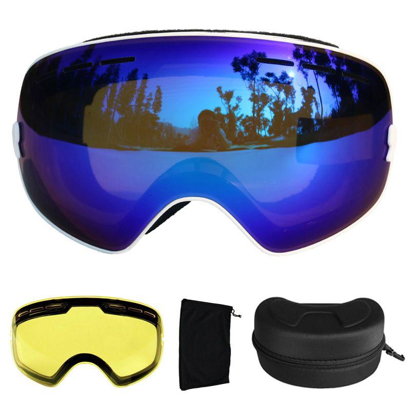Ski Goggles Anti-fog Spherical Ski Glasses UV400 Ski Snowboard Goggles Ski Eyewear With Night Version Lens and Box