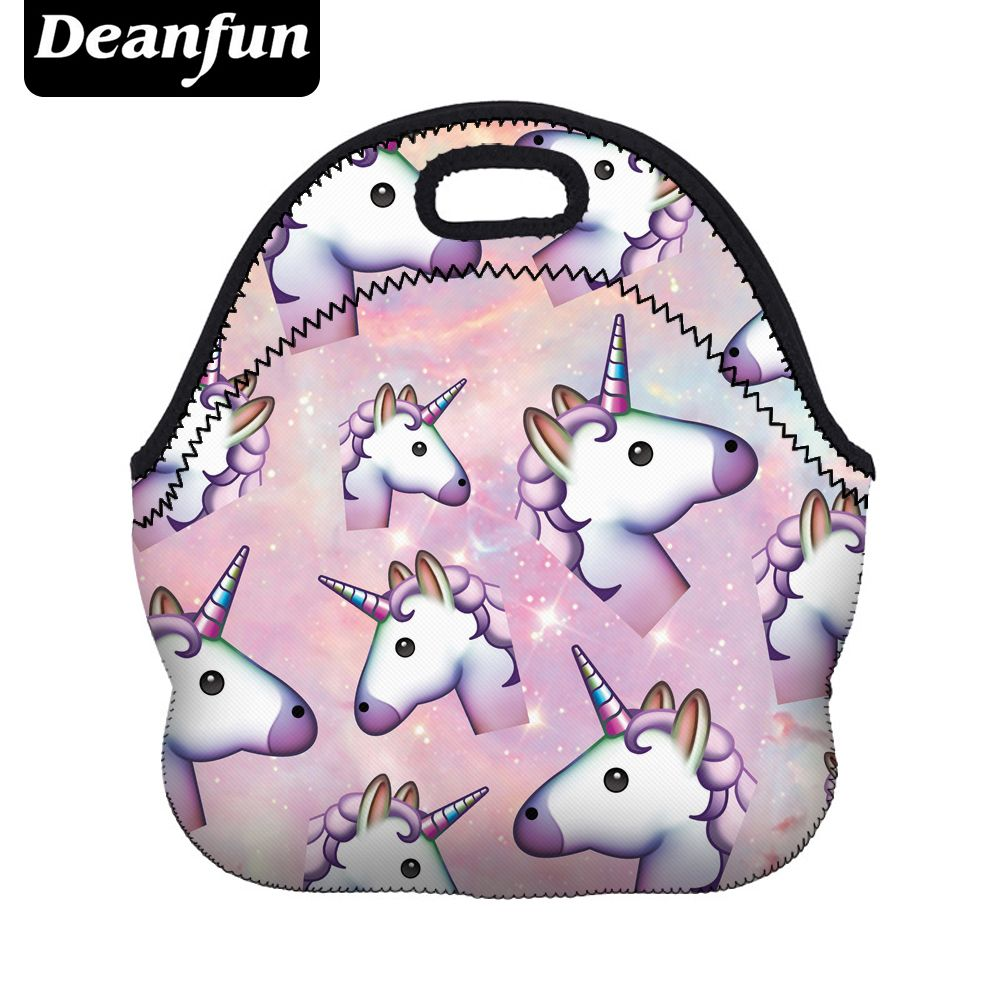 Deanfun Unicorn Lunch Bag 3D Printed Cartoon  New Fashion Neoprene Waterproof Zipper for Picnic Women 50818