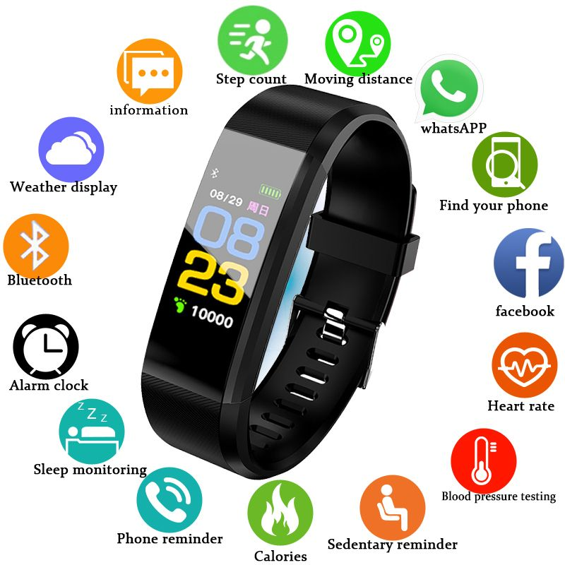 BANGWEI 2018 Smart Watch Men Heart Rate Blood Pressure Pedometer Sport Wristwatch Smart Fitness Watch Men Women For IOS Android
