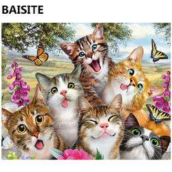 BAISITE Бескаркасный конструктор «сделай сам» картины маслом по номерам на холсте настенные картины на стену для гостиной украшения дома 972