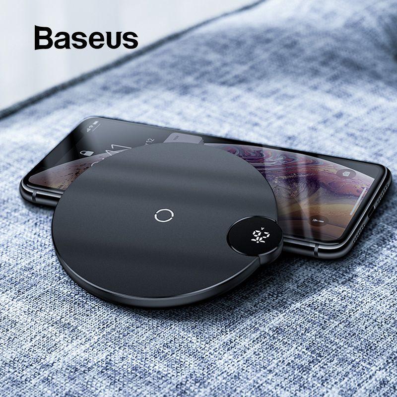 Chargeur sans fil à affichage numérique Baseus LED pour iPhone X XR XS Max 8 Qi chargeur rapide sans fil pour Samsung Galaxy S10 Huawei P30