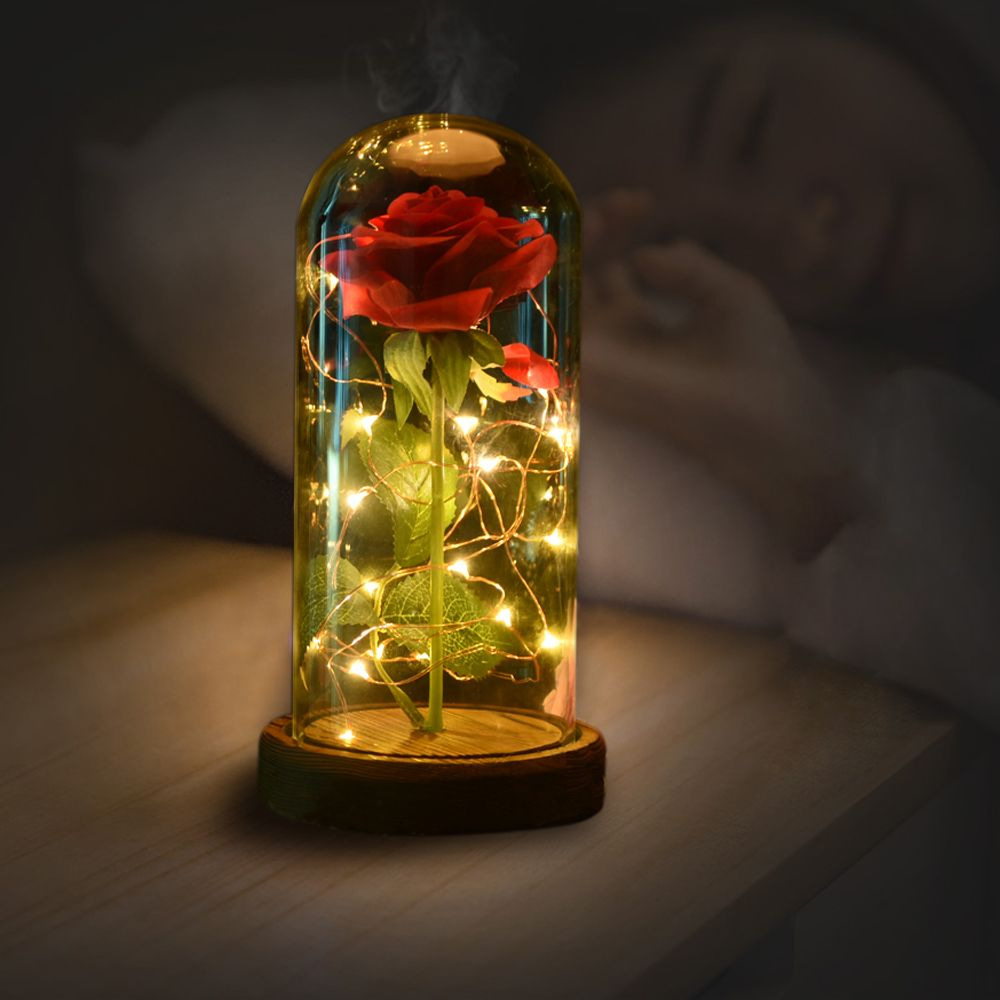 WR Birthday Gift Beauty and the Beast Red Rose w/ Fallen Petals in a Glass Dome on a Wooden Base for Christmas Valentine's Gifts