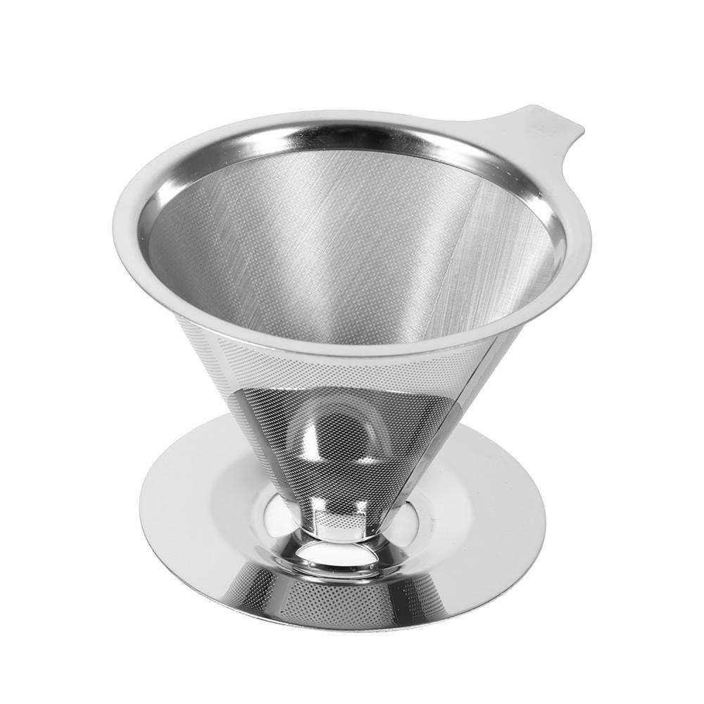 Conteneur en acier inoxydable réutilisable de filtre à café Double couche en métal maille entonnoir paniers café goutteur thé filtre panier outils