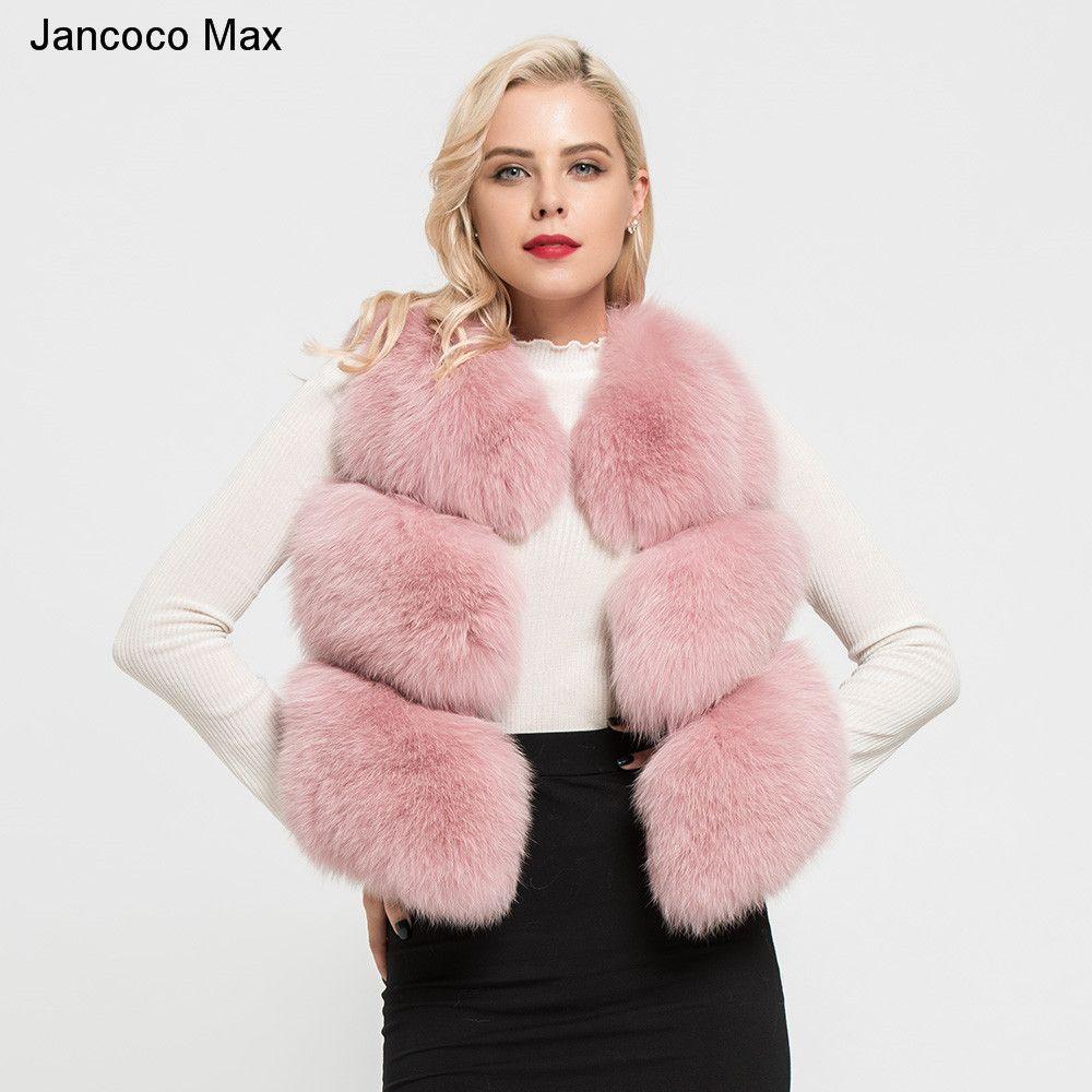 Jancoco Max 2018 Women's Real Fox Fur Vest Winter Warm High Quality 3 Rows Waistcoat Sleeveless Coat Fashion Gilet S7162