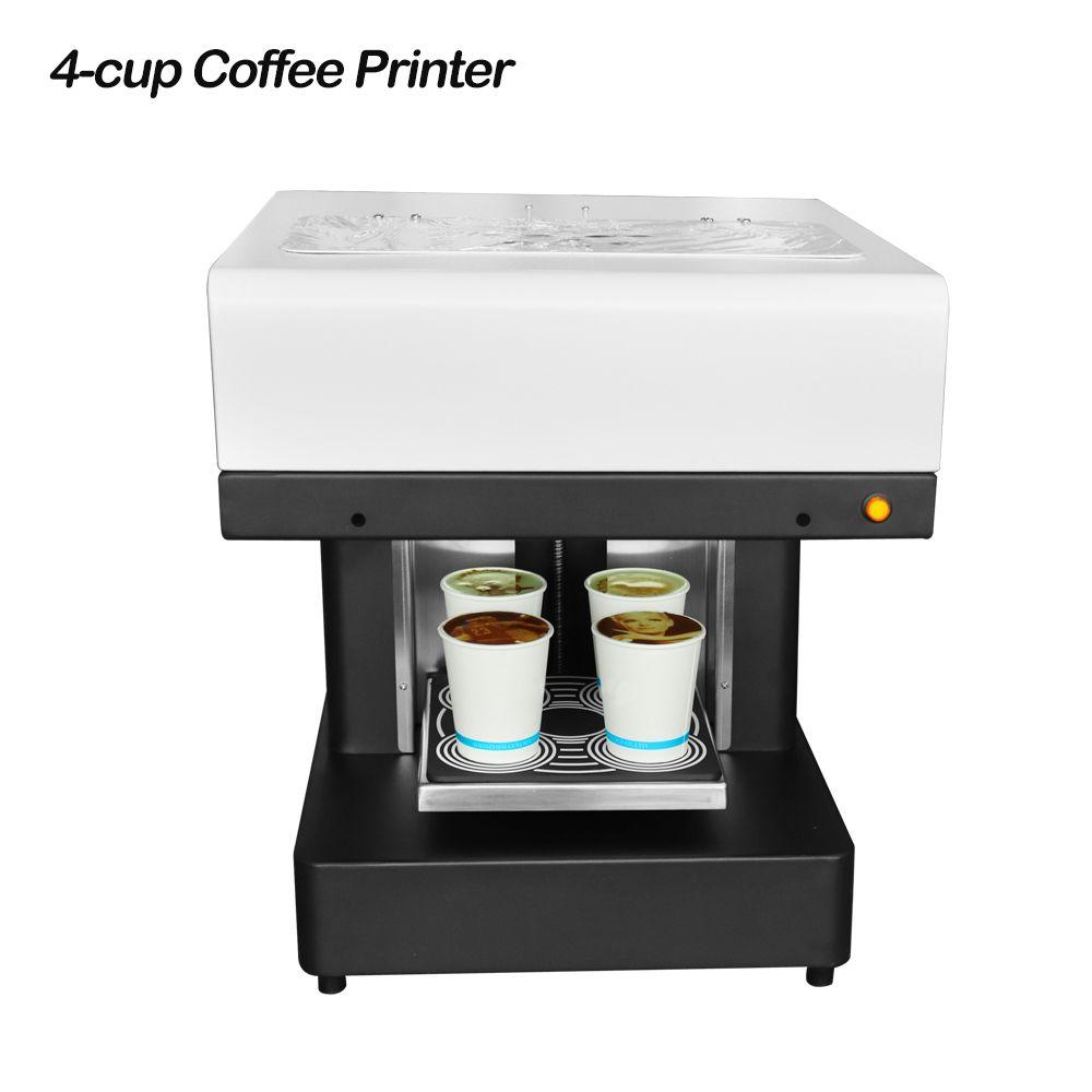 4 Cup Selfies Coffee Printer Food Print Machine for Latte Cake Pizza Cookie Bread Yogurt Printing