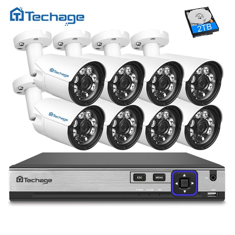 Techage H.265 8CH 4MP POE NVR CCTV System 4MP Outdoor 6 Array IR Leds IP Camera P2P Onvif Video Surveillance Kit Motion Detect